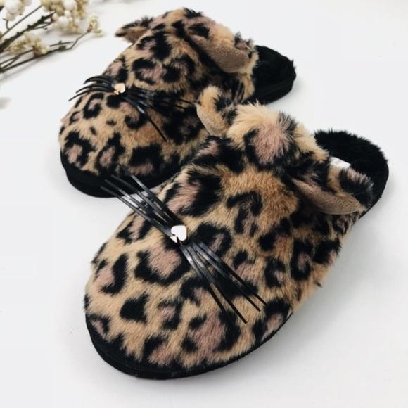4e96ae12f0bb Kate Spade Faux Fur Kitten Leopard Print Slippers